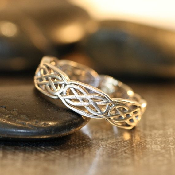 Celtic Wedding Band 14k White Gold Unique Wedding Ring for Him or Her Recycled Gold Celtic Knot Ring (Other Metals Available)