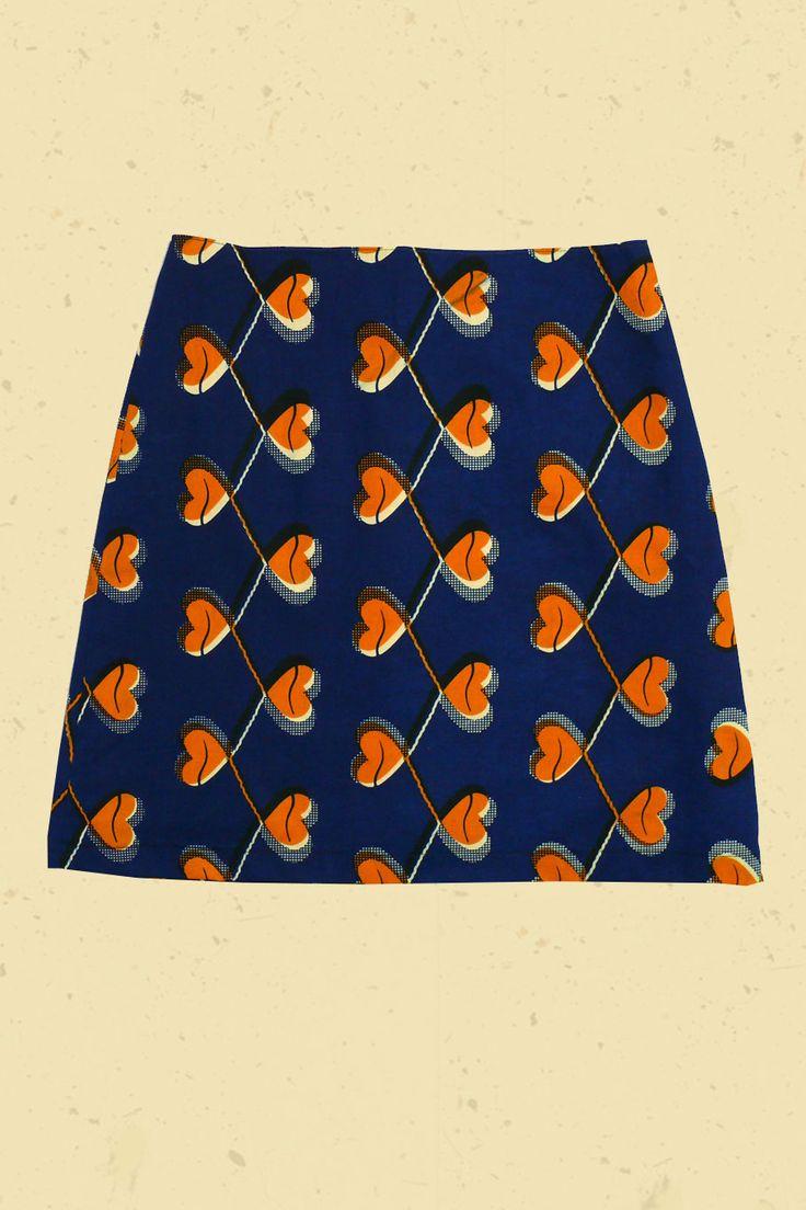 Marine blauwe rok met oranje harten!