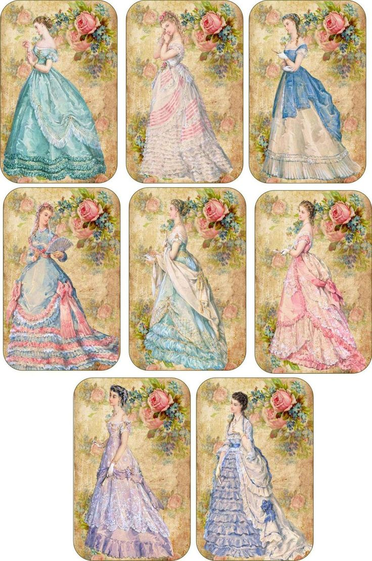 Vintage Inspired Fashion Women Ball Gowns Tags Scrapbooking Crafts Set 8 Ribbon | eBay