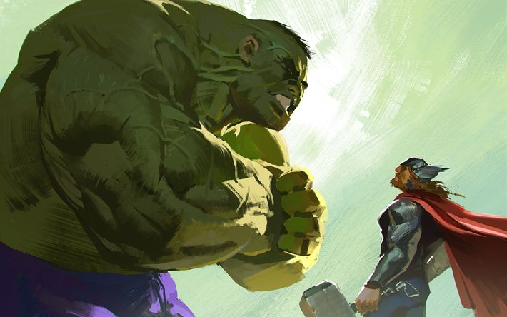 Download wallpapers 4k, Hulk, Thor, superheroes, art, 2018 movie, Avengers Infinity War