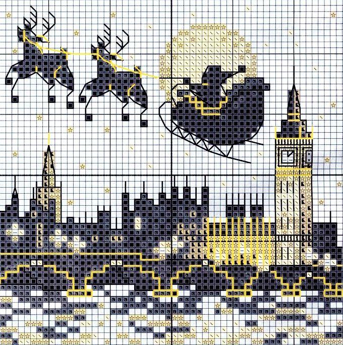 natale a Londra - babbo natale arriva con la slitta e le renne passandro sopra il tamigi e il big ban - punto croce - cross Stitch - Kreuzstich - Punto de Cruz