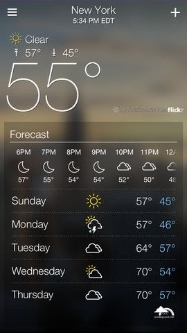 Yahoo's Weather app for iOS is far superior to the Yahoo-powered stock Apple weather app and better than The Weather Channel's (e.g. no ads). It's beautiful, using crowdsourced Flickr photos based on the location.