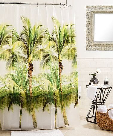 Green Palm Tree Shower Curtain #zulilyfinds