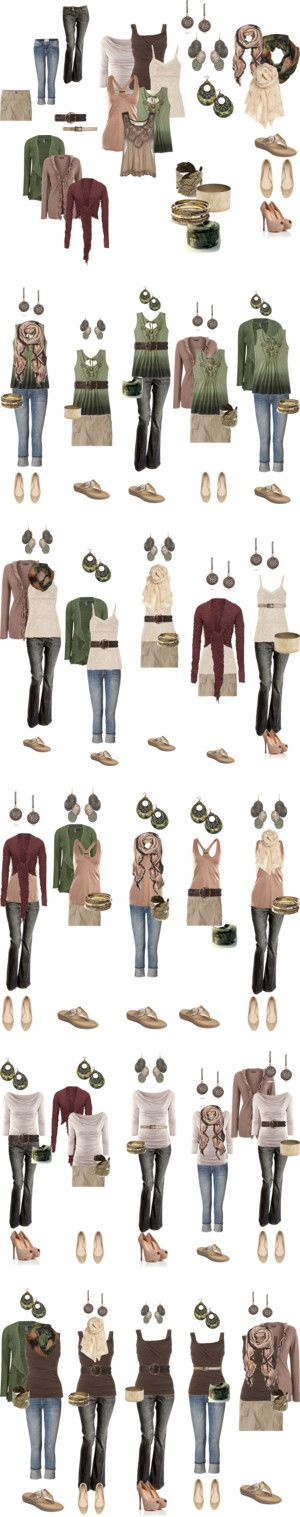 """""""Summer wardrobe capsule #1"""" by numinadea on Polyvore - I would do more jewel tones"""