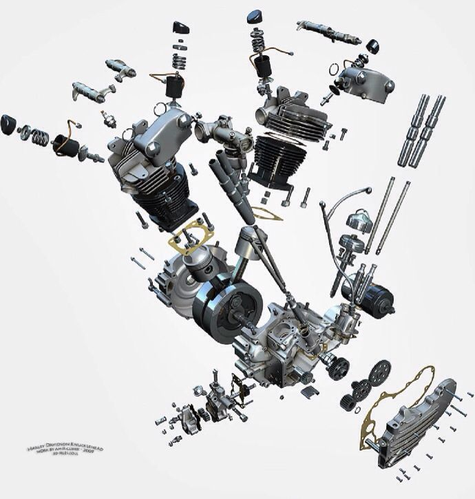 cool exploded view art of h d  knucklehead motor