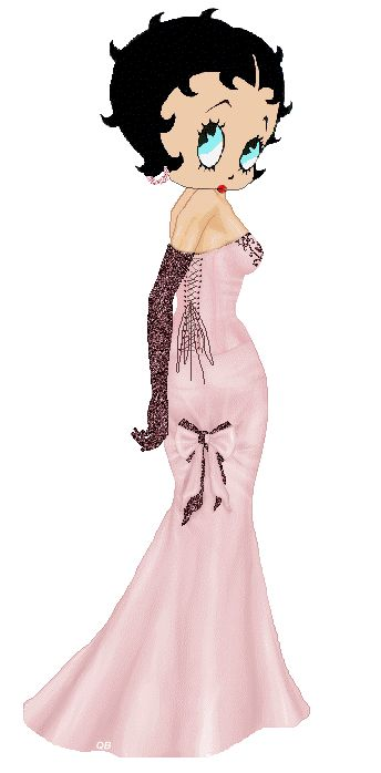 Glitter #Gif - Betty Boop glamorous pink evening gown