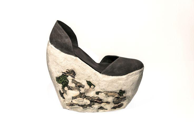 Concrete and wood / shoe made by Helena Kolnikova   Tomas Bata University