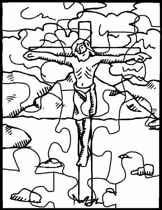 jezus aan het kruis puzzel puzzel pasen knutselen