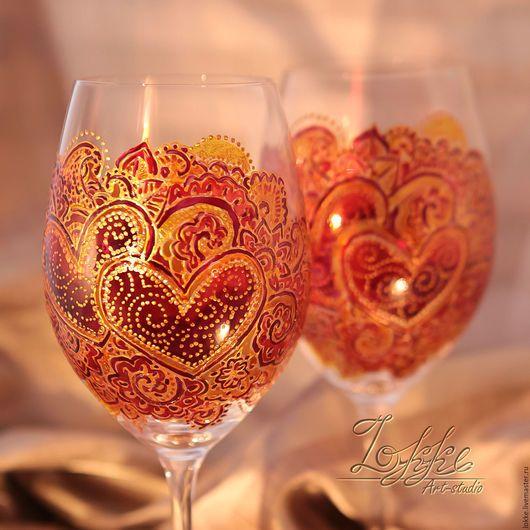 Бокалы, стаканы ручной работы. Ярмарка Мастеров - ручная работа. Купить Винные бокалы - сердца влюбленных. Handmade. Подарок девушке