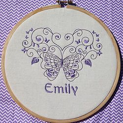 """Butterfly Dance"" 8"" machine embroidered hoop art. Personalised for your child's room. Finished with stiffened felt for your wall's protection. $22.50 #embroidered #hoop #art #embroideredhoopart"