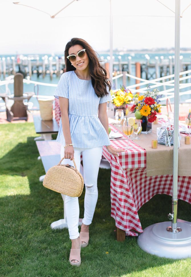 Nantucket seaside picnic with Stella Artois. Love the summery outfit!