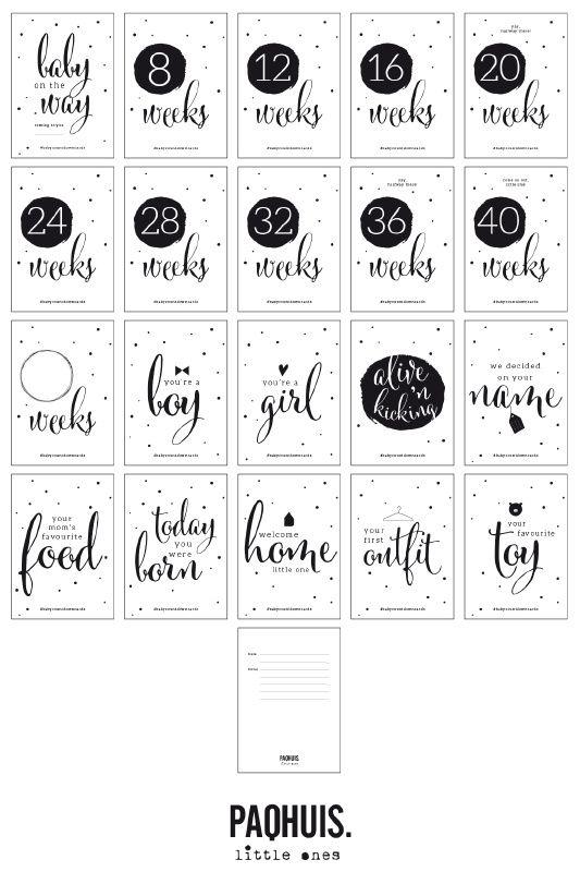 Baby Countdown Cards   Mooie zwart / witte fotokaarten om de bijzondere momenten tijdens de zwangerschap vast te leggen.