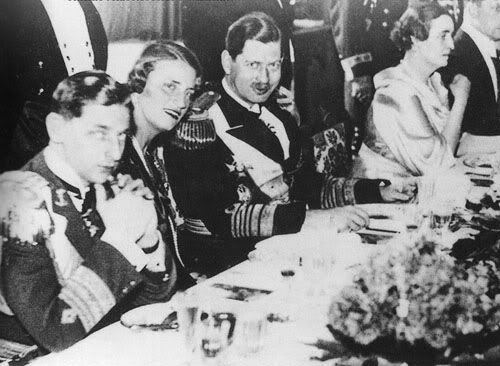 Prince Nicholas with his sister Princess Elisabeth and brother King Carol II at some official function. Apparently this photo was taken before Nicholas was exiled from Romania by Carol.