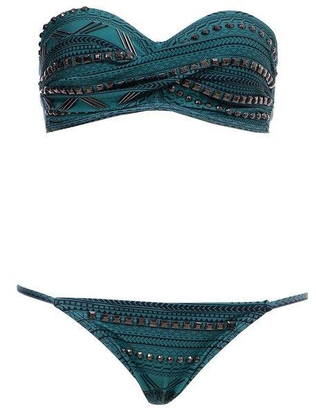 swimwear bikini studs blue bikini -- i LOVE THIS to bad its a 2 piece.. lol
