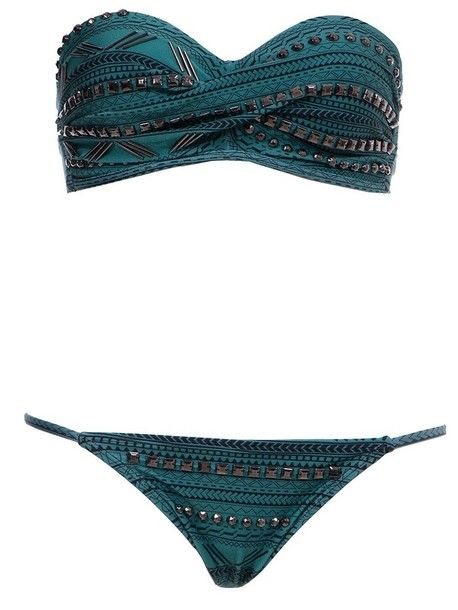 swimwear bikini studs blue bikini