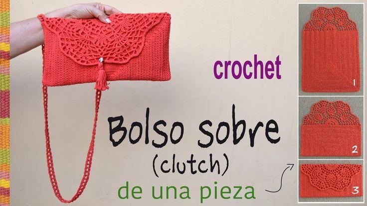 Bolso tipo sobre (o clutch) tejido a crochet en ¡UNA PIEZA! - Tejiendo P...