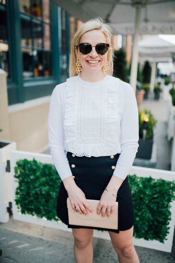 eyelet sweater and military inspired skirt -- Blush and Blooms