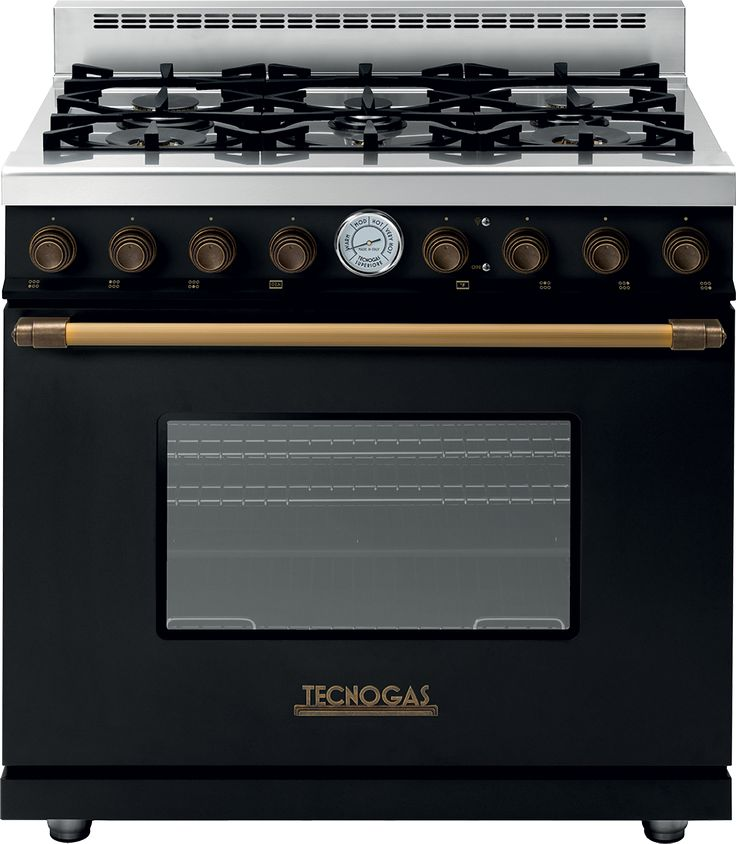 range deco classic black matte brass 6 gas burners extralarge gas oven equipped with 4 convection fans and broiler
