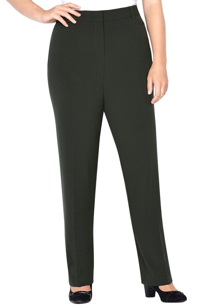 Avenue Women's Slimming Trouser Pant with Tummy Control 28-32, 28 Forest. Show all the right curves in the slimming trouser pant now in extended sizes. Mesh liner in the front slims down your tummy and controls unflattering areas while maintaining. Woven plus size trouser pant. Powerful mesh tummy control liner at the front creates a slimming silhouette. Front and back welt pockets.