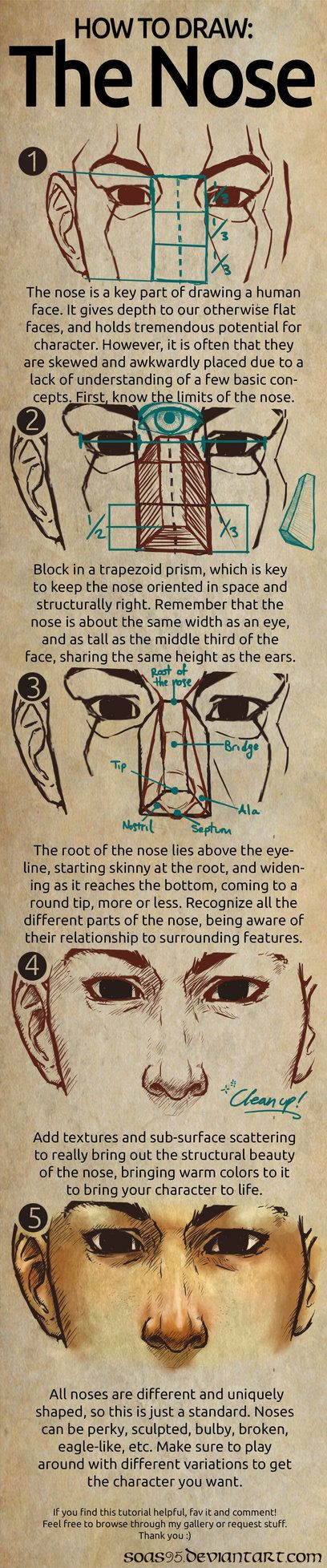 Human Nose- TUTORIAL by soas95 ✤ || CHARACTER DESIGN REFERENCES |