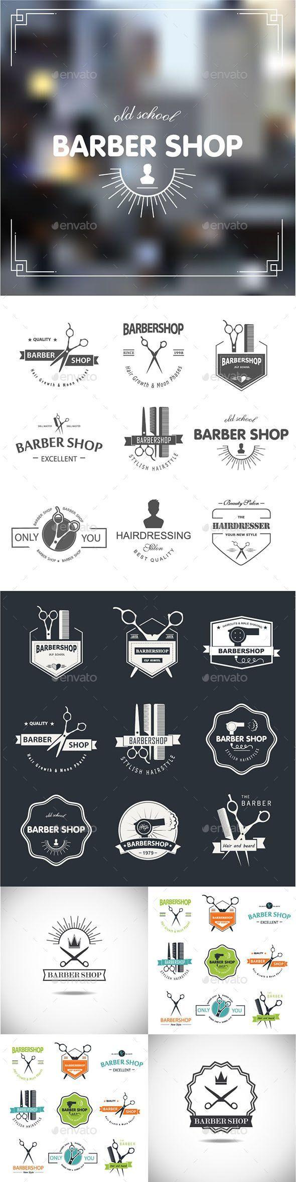 Barbershop Badges Vector Template #design Download: http://graphicriver.net/item/-barbershop/11239196?ref=ksioks