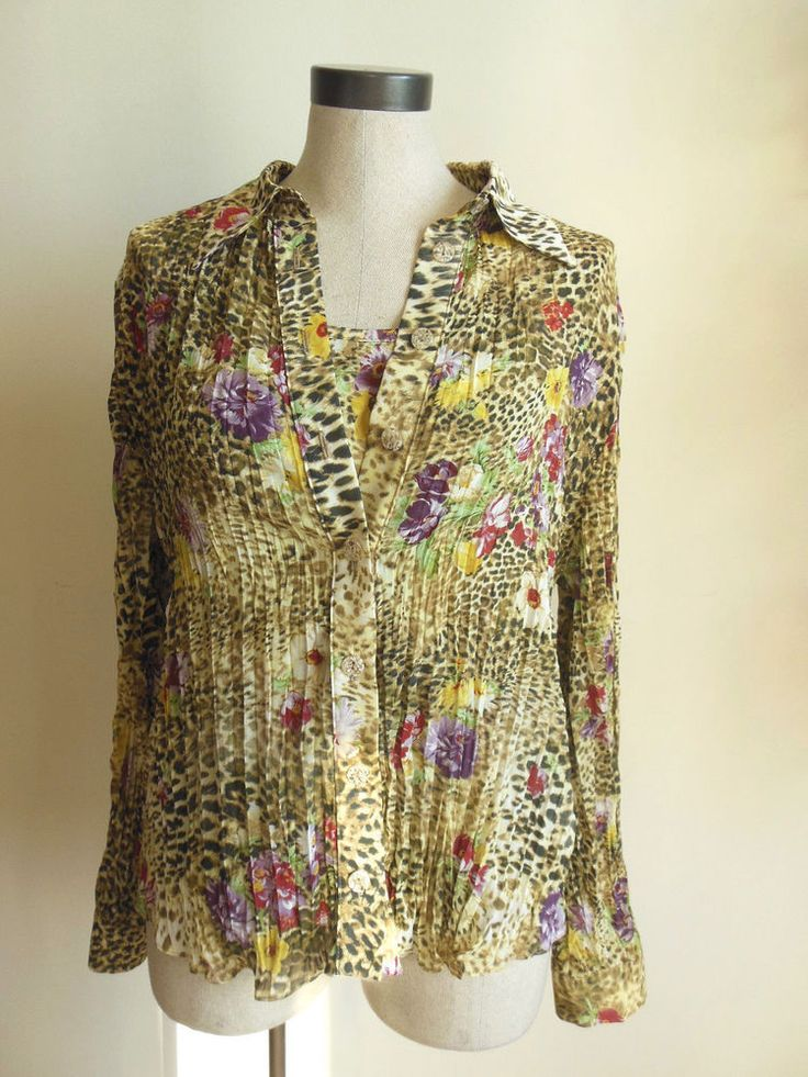 Joseph Ribkoff Crinkle Blouse and Cami Animal Floral Print Button Down size 12 #JosephRibkoff #Blouseandcami #Casual