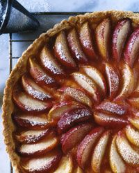 White Peach Tart    1 1/2 cups all-purpose flour  1/4 cup granulated sugar  1/2 teaspoon baking powder  1/2 teaspoon finely grated lemon zest  7 tablespoons unsalted butter, softened  1 large egg  1 large egg yolk  1/4 cup plus 2 tablespoons peach preserves  3 to 4 firm white peaches, cut into 1/2-inch wedges  Confectioners' sugar, for dusting
