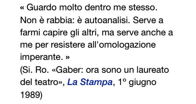 """Giorgio Gaber (il """"Signor G."""") e le sue osservazioni."""