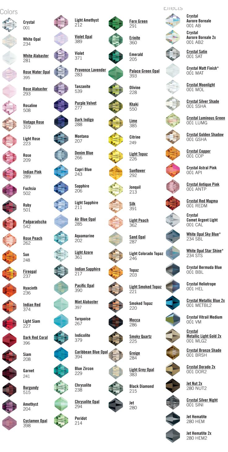CRYSTAL colors and names. #Beading #Jewelry #Tutorials More - Crafting Lifestyle