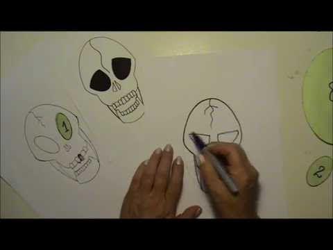 Tegn kranier med gratis skabeloner