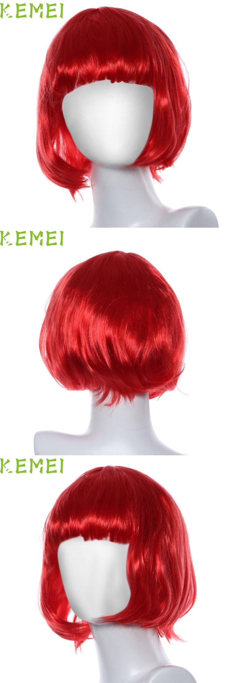 [Visit to Buy] 2017 Hot   Masquerade Small Roll Bang Short Straight Red Hair Wig perruque peluca  Mar6 #Advertisement