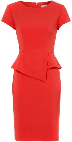 Untold Short Sleeve Fitted Peplum Detail Dress in Red - Lyst
