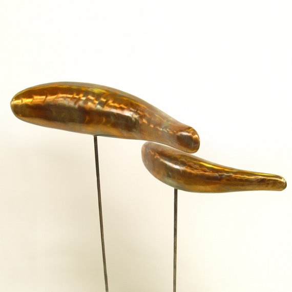 FISH SCULPTURE outdoor abstract Bronze koi 1 Large 12 inch