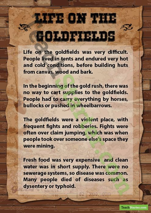 Life on the Goldfields Poster | Teaching Resources - Teach Starter