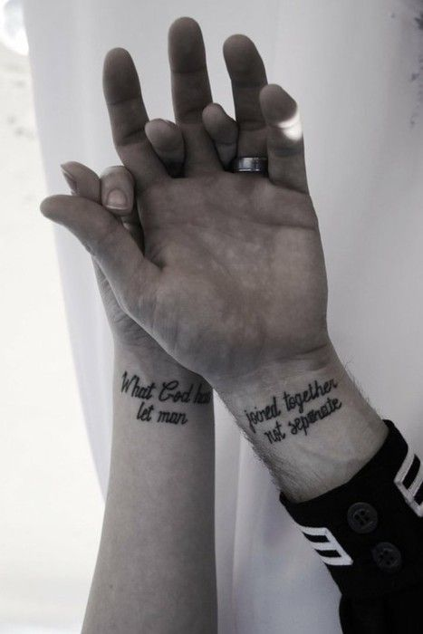 """what God has joined together let man not separate"" -- love this, but 100% sure I could not talk my ink-free hubby into it :)"