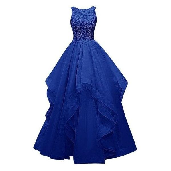 Dresstells Long Prom Dress Asymmetric Bridesmaid Dress Beaded Organza ❤ liked on Polyvore featuring dresses, blue asymmetrical dress, blue beaded dress, blue bridesmaid dresses, long dresses and asymmetrical bridesmaid dresses
