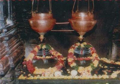 The twin Shivalingas at Kaleswaram temple, Karimnagar dist, representing Shiva and Yama.