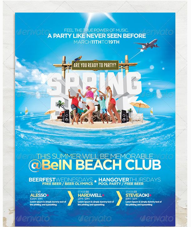 24 best Spring Break Party Flyer Templates images on Pinterest - pool party flyer template