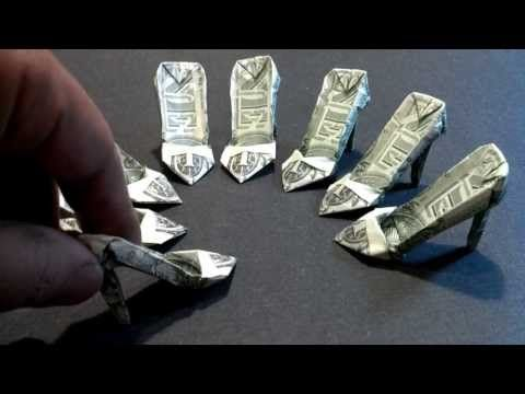 Money Origami High Heels - Dollar Bill Art - YouTube