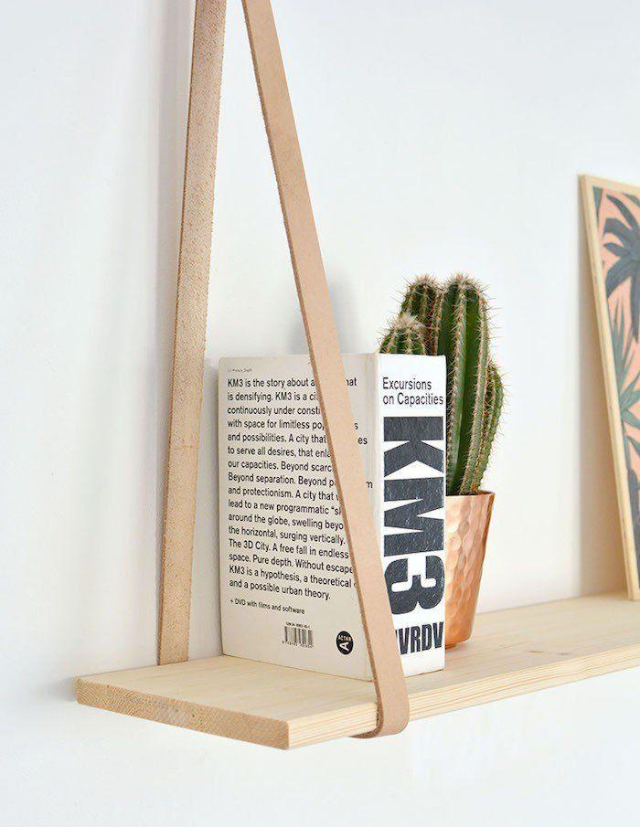 etagere suspendue ikea table de chevet meubles suspendus étagère à suspendre diy tuto comment fabriquer bois salle de bain cuisine tissu lanière en cuir design scandinave minimaliste
