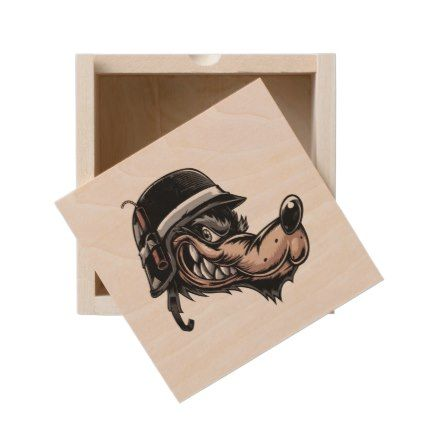 Cartoon wolf with a dynamite on his German helmet Wooden Keepsake Box - drawing sketch design graphic draw personalize