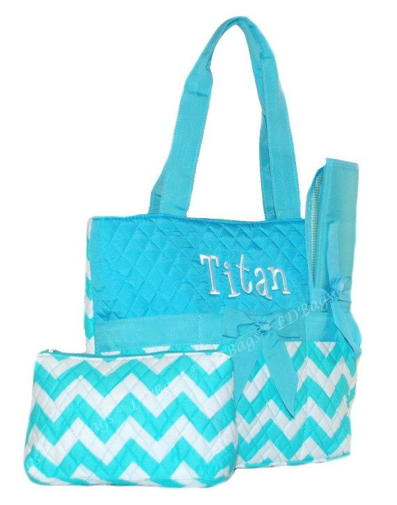 Chevron Diaper Bag Baby Bag Quilted Girls Diaper Bag Aqua Chevron Bag Aqua Trim-3pc. set! with Free Monogramming SALE on Etsy, $24.99