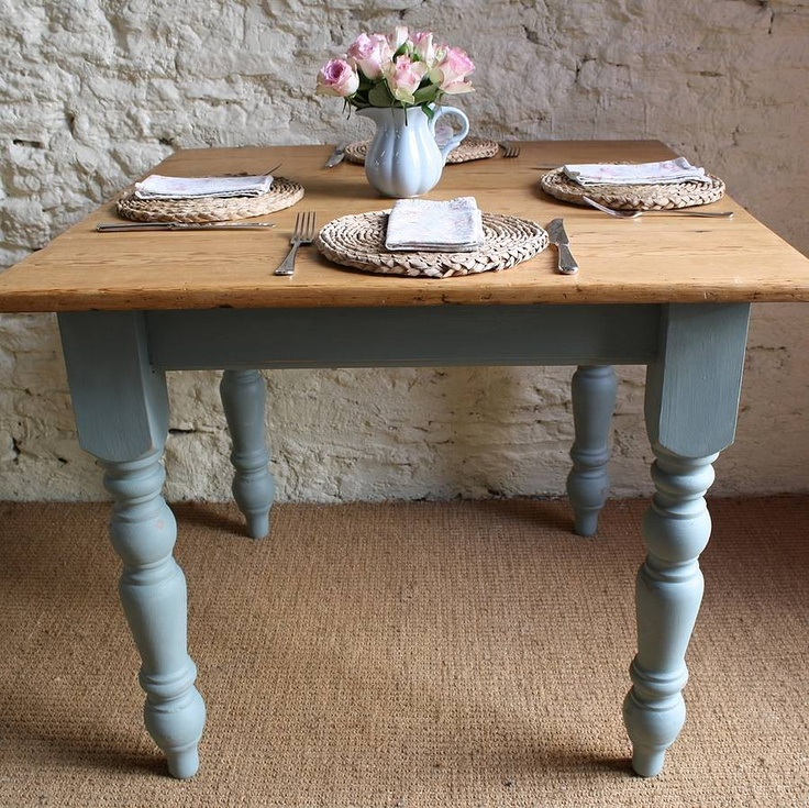 light top, blue bottom.  I think this is how I want to paint the old kitchen table we just bought.