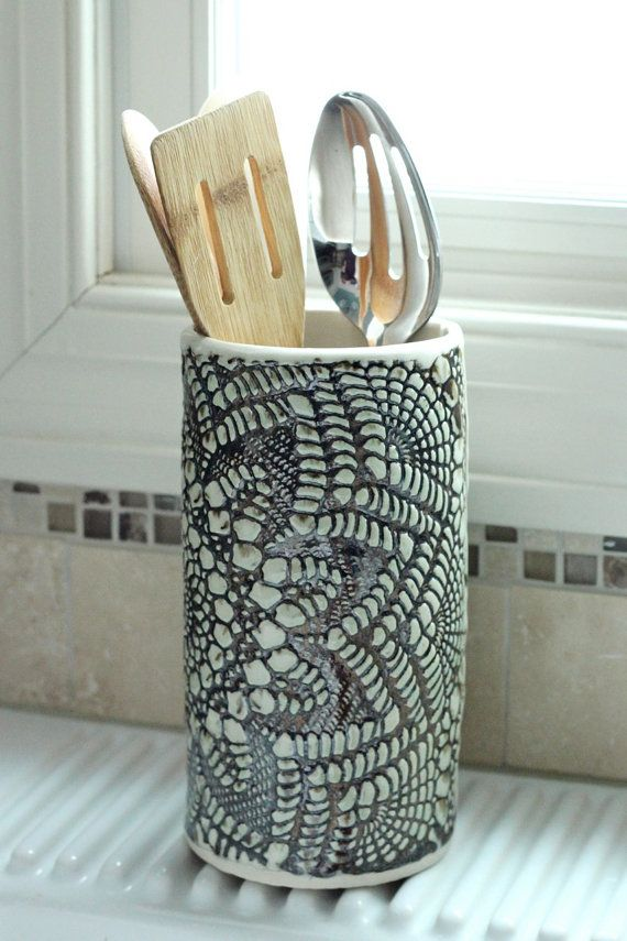Handmade Pottery Vase or Utensil Holder by FringeandFettle