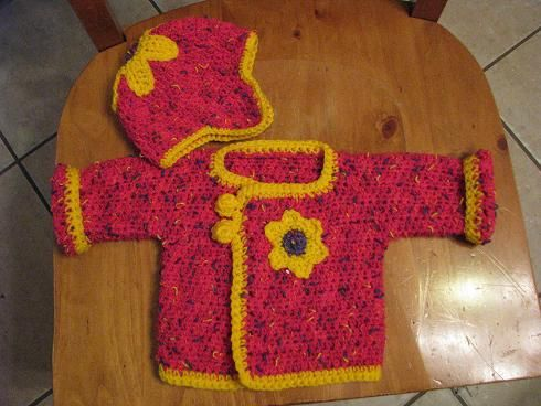 Crochet~ quick baby jacket, with matching hat- Free Pattern by Crochet Me