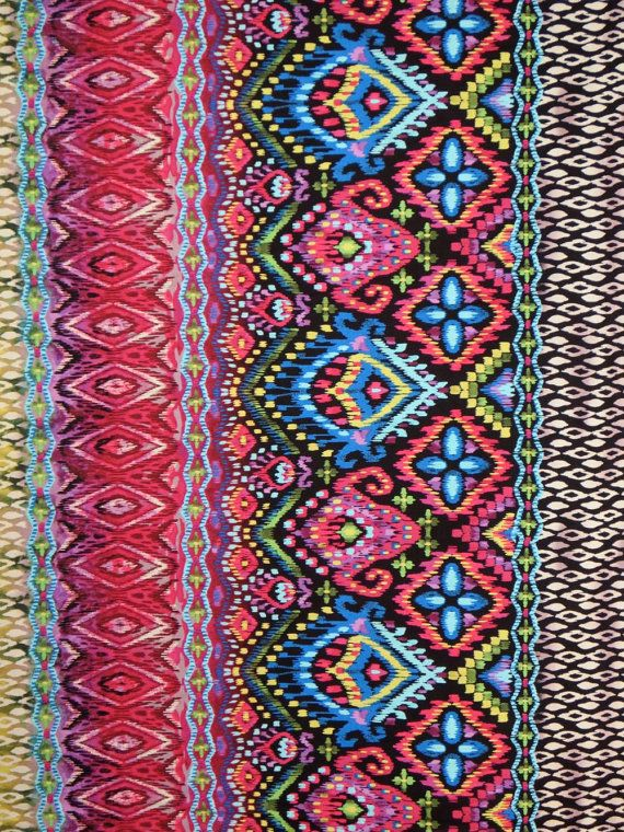 Remnant Colorful Ikat Style Border Print Pure Cotton