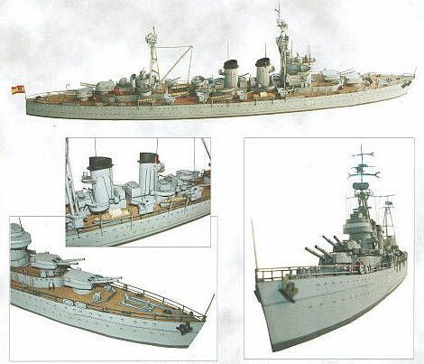 This ship paper model is the Spanish Cruiser Canarias (C-21), a heavy cruiser of the Spanish Navy, the papercraft is created by Papel 3D, and the scale is in 1:400