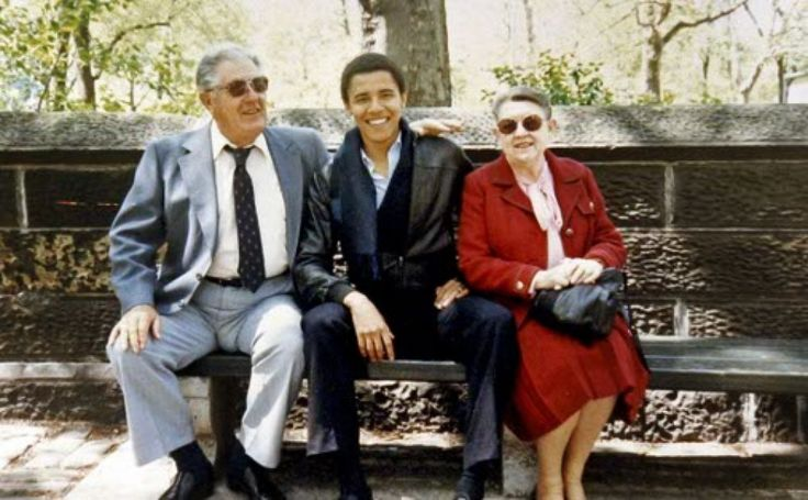 President Barack Obama with his grandparents, Stanley Armour Dunham and Madelyn Lee Payne Dunham in New York City during a visit with Obama, who was a student at Columbia University. (AP Photo)