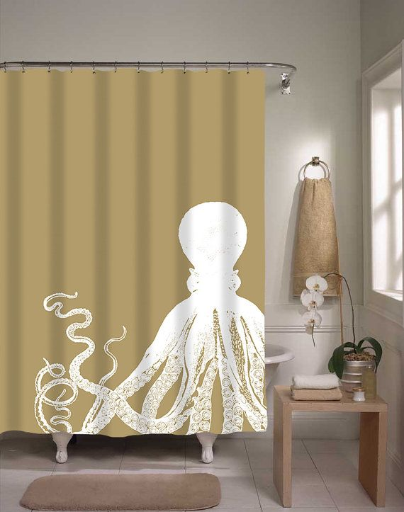 Nautical Shower Curtain Brown Octopus Bathroom Shower Curtain Squid Sea Life Under The Sea Home Decor