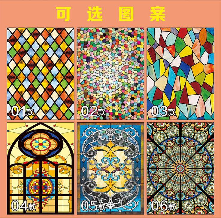 2 unids 100 cm x 210 cm Personalizado pegatinas estáticas decorativo vidrieras iglesia vitral película para ventanas 200 estilos